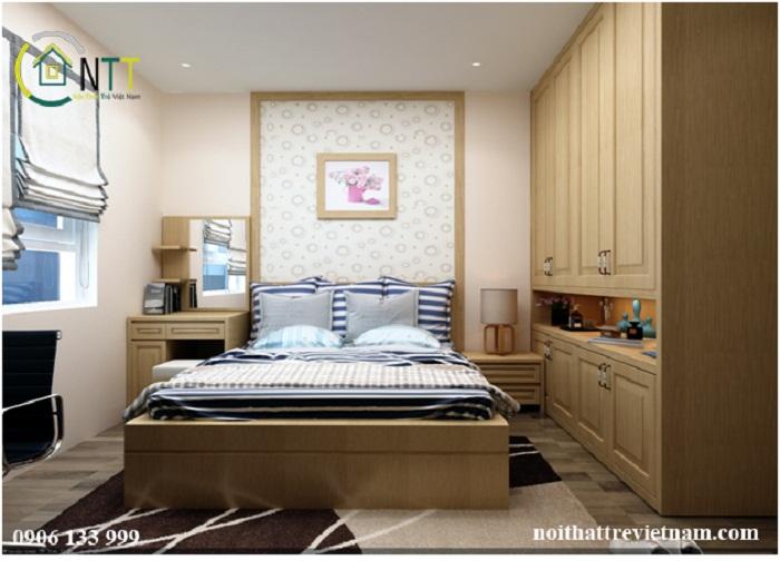 Sự kết hợp hài hòa của gam màu trung tính giúp không gian phòng ngủ thông thoáng hơn