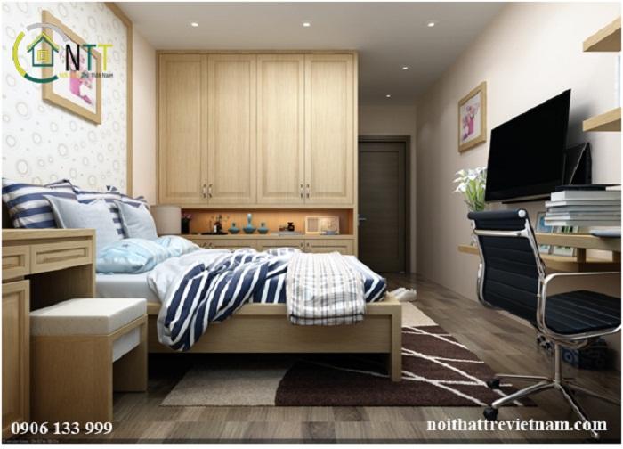 Ảnh 6 Nội thất phòng ngủ sử dụng chất liệu gỗ sồi tự nhiên cao cấp và gỗ MDF An Cường