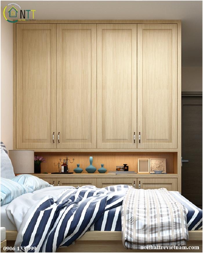 Chiếc tủ quần áo trong mẫu thiết kế nội thất phòng ngủ hiện đại nhà chị Trang