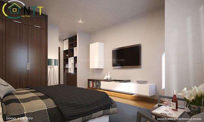 Một góc nhìn của phòng ngủ trong mẫu thiết kế nội thất phòng ngủ phong cách hiện đại, sang trọng