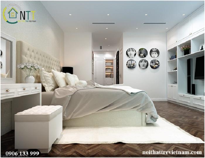 Nội thất phòng ngủ với gam màu trắng - đen