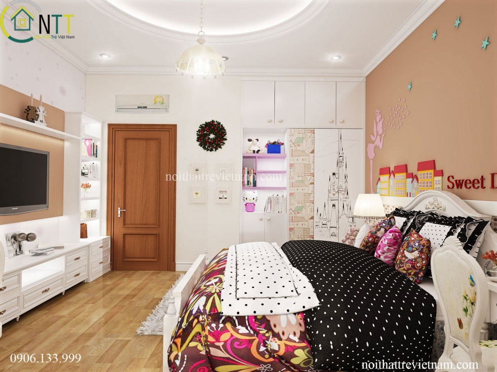 Mẫu thiết kế nội thất phòng ngủ bé gái nhà anh Tài