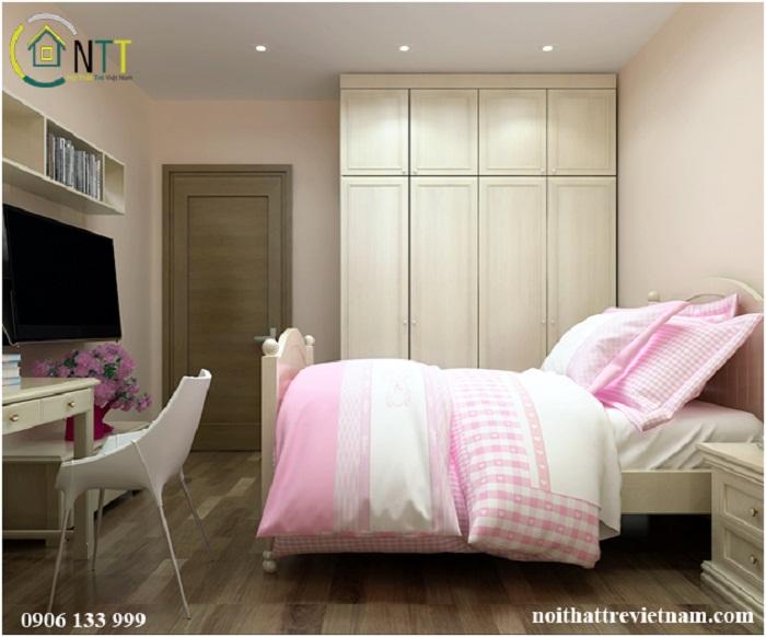 Không gian phòng ngủ trong mẫu thiết kế nội thất phòng trẻ em đẹp cho bé gái căn hộ chị Trang