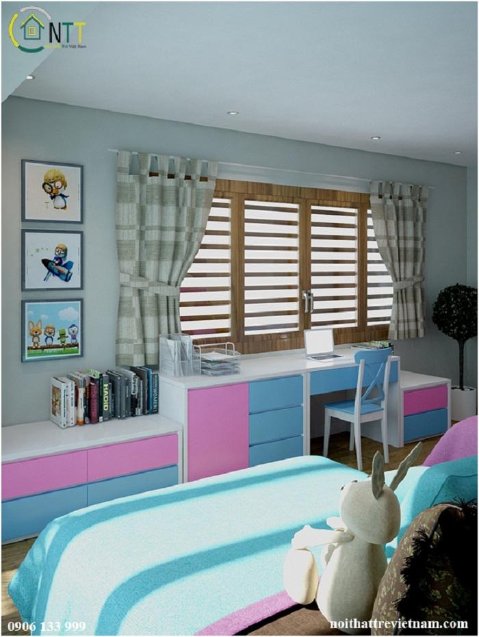 Sự kết hợp gam màu trắng – hồng – xanh vừa đem đến không gian trẻ trung vừa hợp sở thích của trẻ