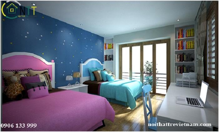 Phần tường phía đầu giường trang trí tạo điểm nhấn bằng tone màu đậm hơn