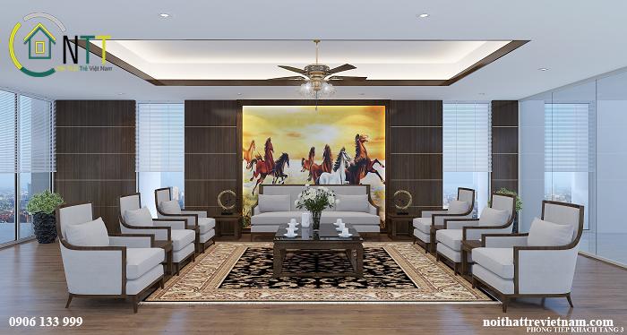 Mẫu thiết kế nội thất phòng tiếp khách – văn phòng công ty CP Dệt Bảo Minh