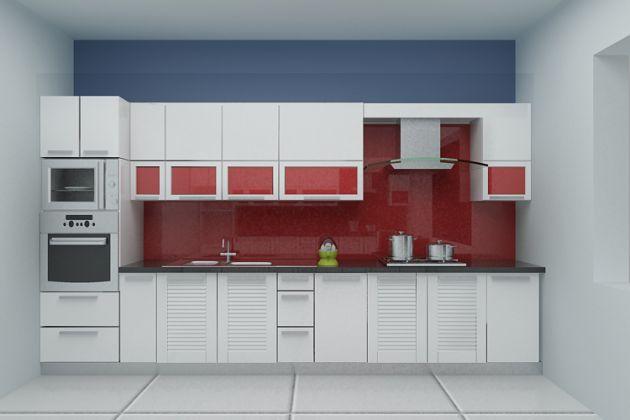 Tủ bếp chữ I màu trắng thiết kế đơn giản hiện đại