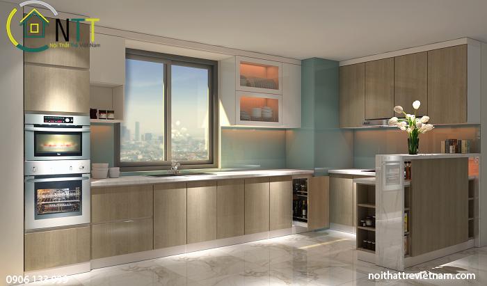 Tổng quan thiết kế nội thất phòng bếp hiện đại nhà anh Bình