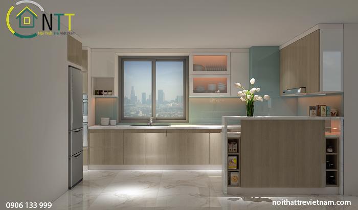Phòng bếp gọn gàng, ngăn nắp đầy đủ công năng hiện đại