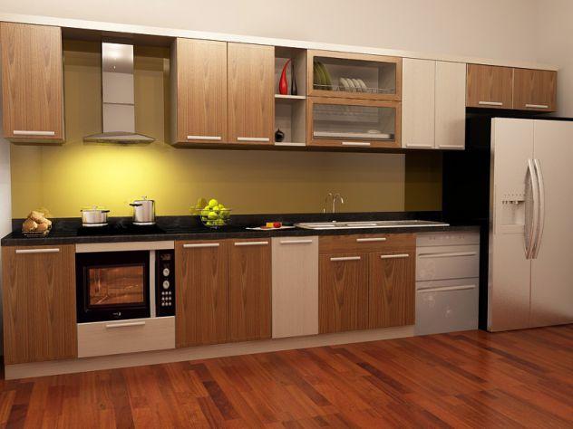 Mẫu tủ bếp chữ I cho phòng bếp 10m2 làm từ gỗ sồi