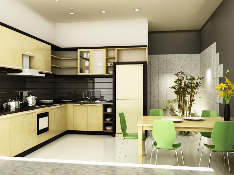Mẫu thiết kế nội thất phòng bếp nhà ống