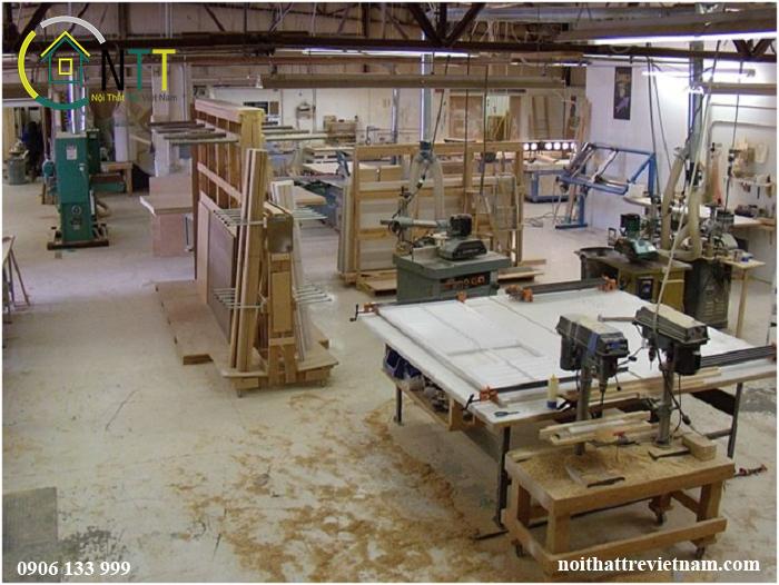 nhà máy sản xuất của Nội thất Trẻ có quy mô 2000 m2 tại khu công nghiệp Bình Xuyên