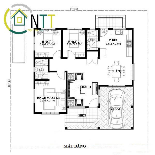 Mặt bằng kiểu nhà cấp 4 – 1 tầng gồm có 3 phòng ngủ