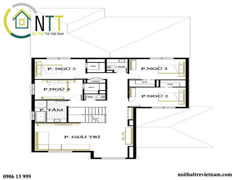 Mặt bằng tầng 2 mẫu nhà mặt phố 2 tầng