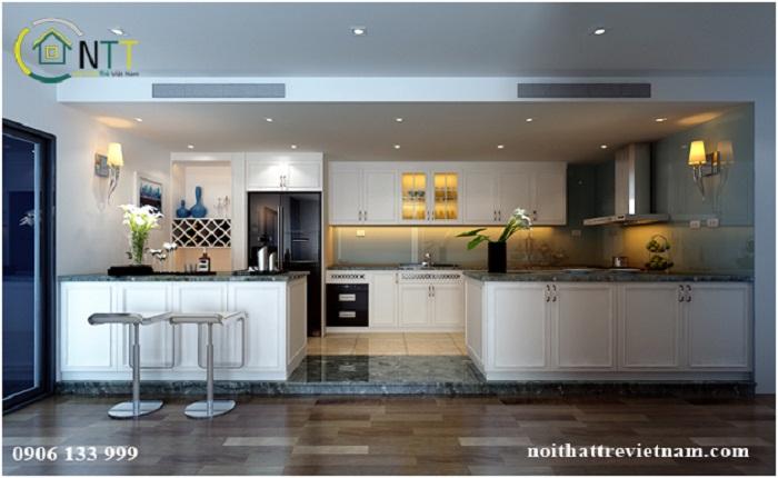 Mẫu thiết kế nội thất phòng bếp tân cổ điển chung cư chị Trâm