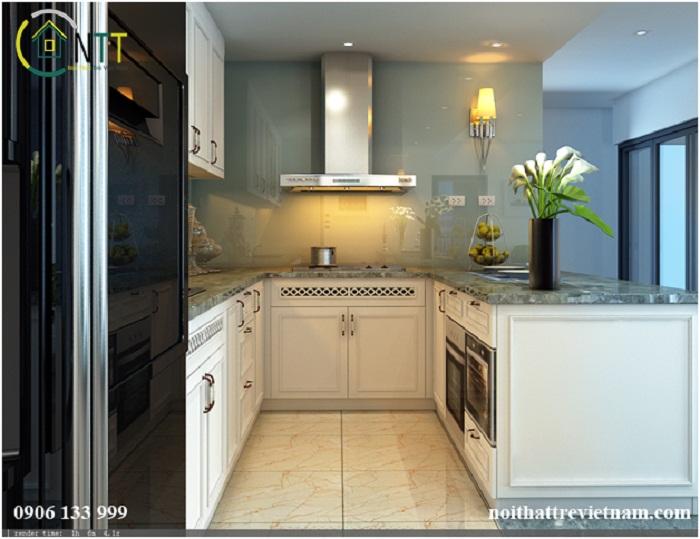 Tủ bếp màu trắng nhiều ngăn tiện lợi