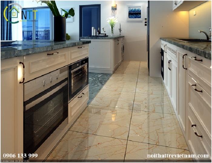 Sàn được lát gạch sạch sẽ dễ vệ sinh