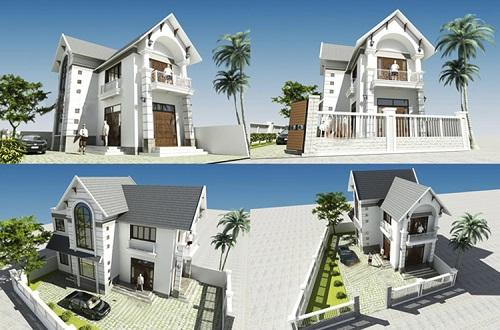  Hình ảnh các góc của mẫu nhà 2 tầng mái thái đơn giản
