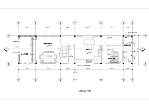Hình ảnh mặt bằng tầng trệt mẫu nhà ống mái thái 2 tầng