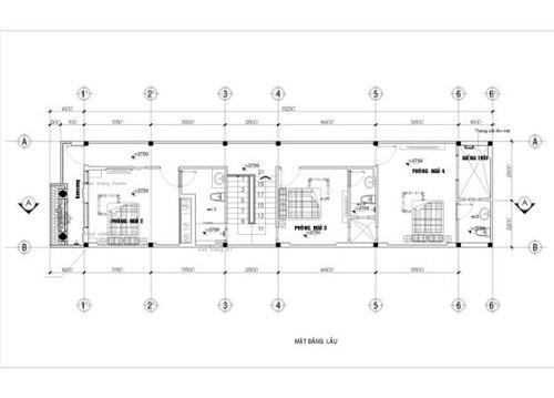 Hình ảnh mặt bằng tầng 2 nhà mái thái 2 tầng