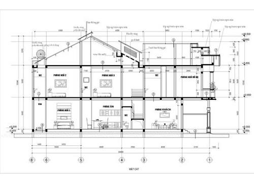 Hình ảnh mặt cắt của mẫu nhà mái thái 2 tầng