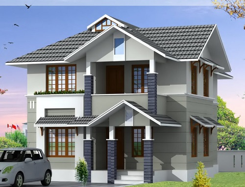 Mẫu nhà 2 tầng mái ngói theo phong cách hiện đại