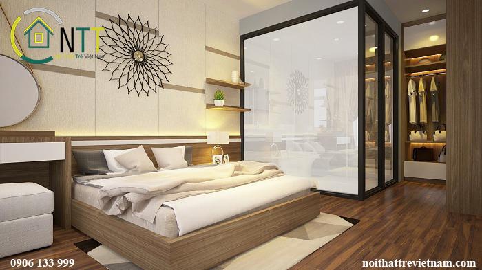 Phòng ngủ master của cô Liên - Mẫu thiết kế nội thất chung cư hai phòng ngủ