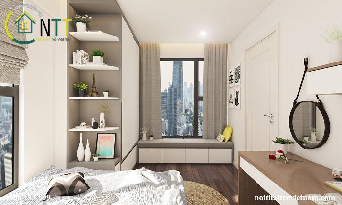 Nội thất phòng ngủ con gái cô Liên - mẫu thiết kế nội thất chung cư hai phòng ngủ