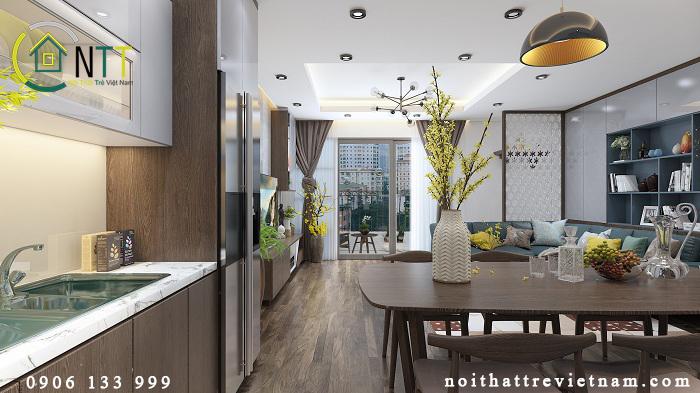 Nội thất phòng bếp + ăn căn chung cư 70m2
