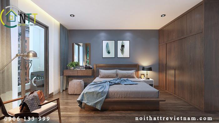 Nội thất phòng ngủ master - mẫu thiết kế nội thất căn hộ chung cư 70m
