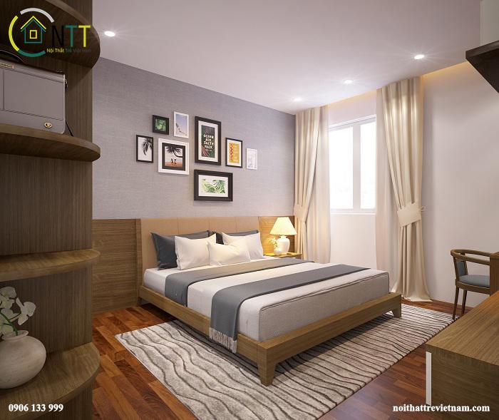 Phòng ngủ master của chị Hương theo phong cách hiện đại