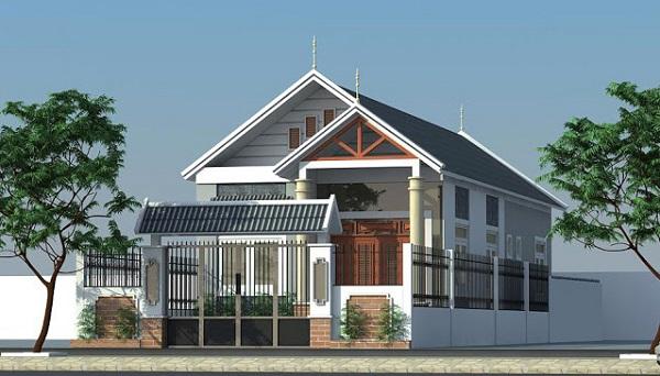 Phối cảnh căn nhà cấp 4 mái thái 5x20 sang trọng