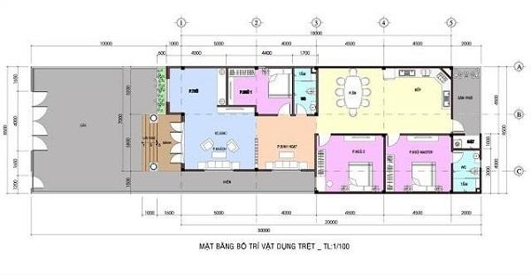 Mặt bằng mẫu nhà hộp cấp 4 có 3 phòng ngủ