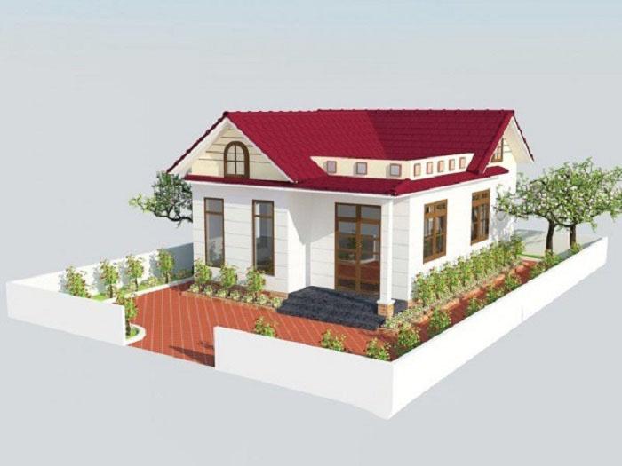 Mô hình 3d nhà cấp 4 mái thái 7x10m