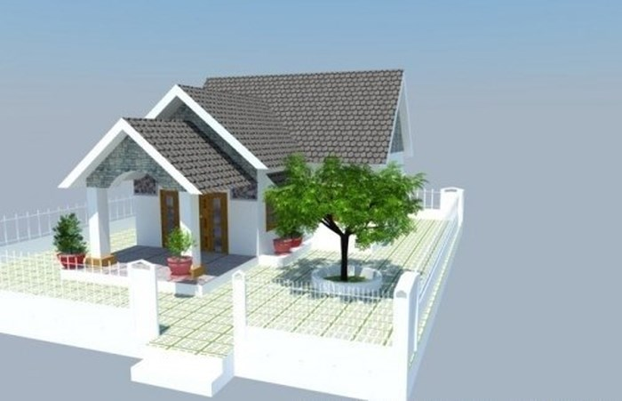 mô hình 3d nhà cấp 4 3 gian