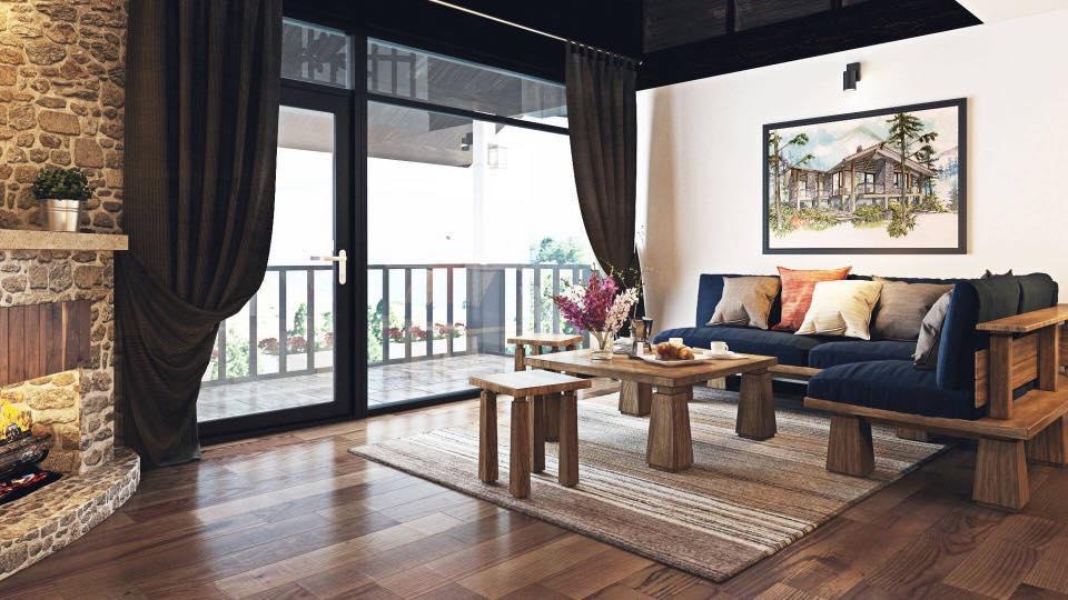 Nội thất trong một phòng khách của biệt thự Sapa Jade Hill