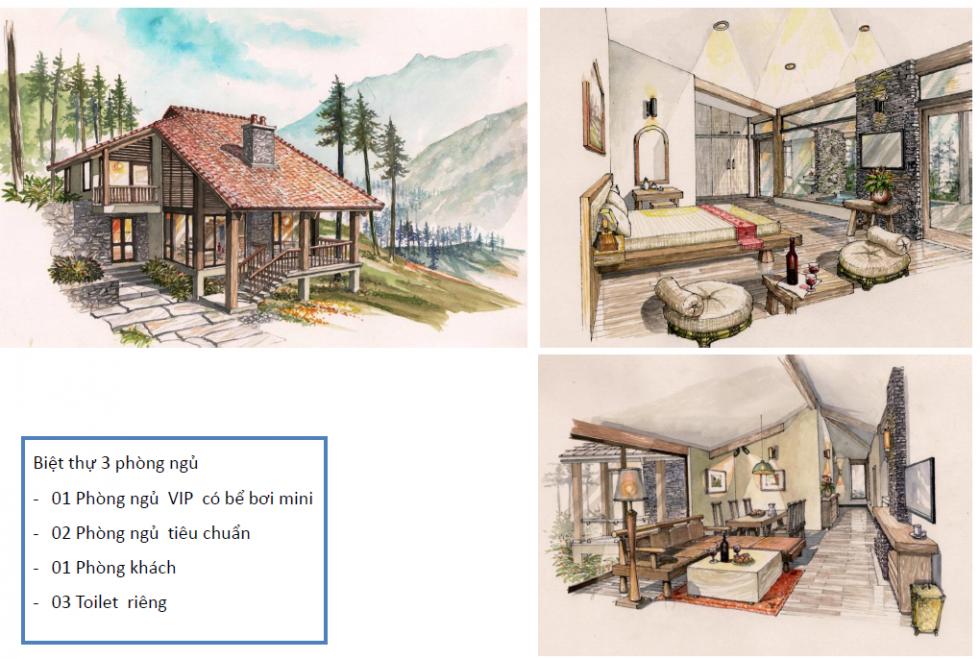 Phối cảnh thiết kế kiến trúc biệt thự sapa jade hill