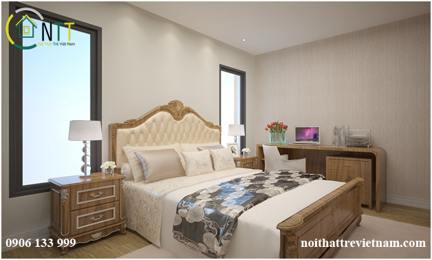 Phòng ngủ cũng được thiết kế theo phong cách hiện đại kết hơp với 1 chút cổ điển