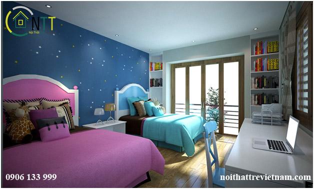 Các phong cách thiết kế nội thất biệt thự phòng ngủ trẻ em hiện đại,