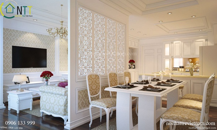 Mẫu nội thất phòng bếp đẹp trong thiết kế nội thất biệt thự tân cổ điển