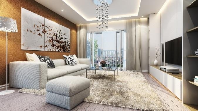 Phòng khách nằm trong căn hộ cao cấp The Manor