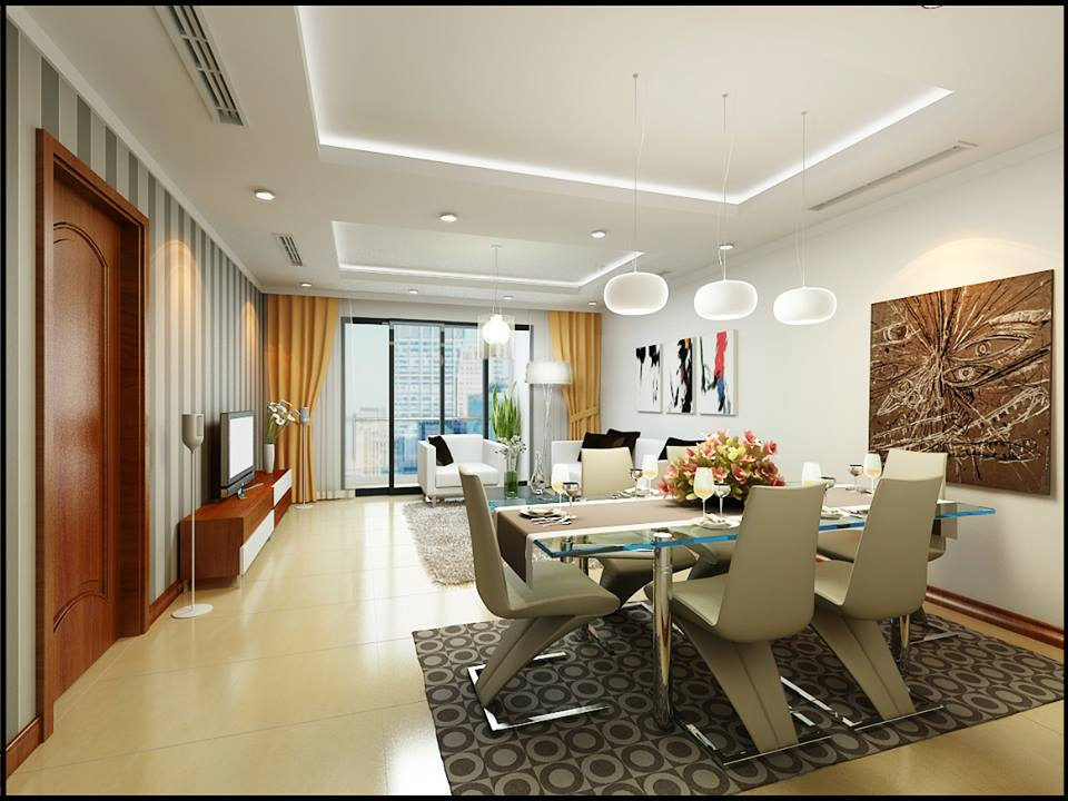Phòng khách liền bếp với đồ nội thất cao cấp