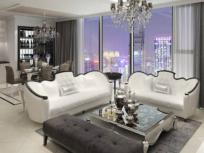 Mẫu 3: Ghế sofa cổ điển trắng tinh khôi