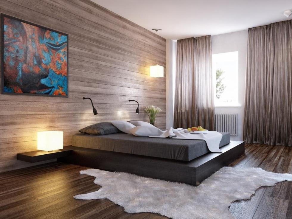 Phòng ngủ tông màu gỗ theo phong cách hiện đại