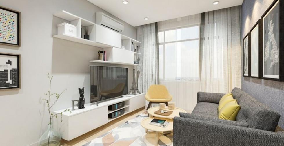 thiết kế nội thất phòng khách căn hộ chung cư 50m2