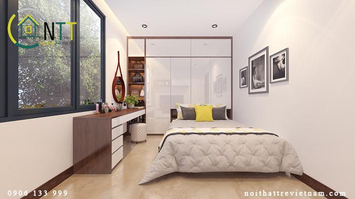 mẫu thiết kế nội thất phòng ngủ cho căn hộ 50m2