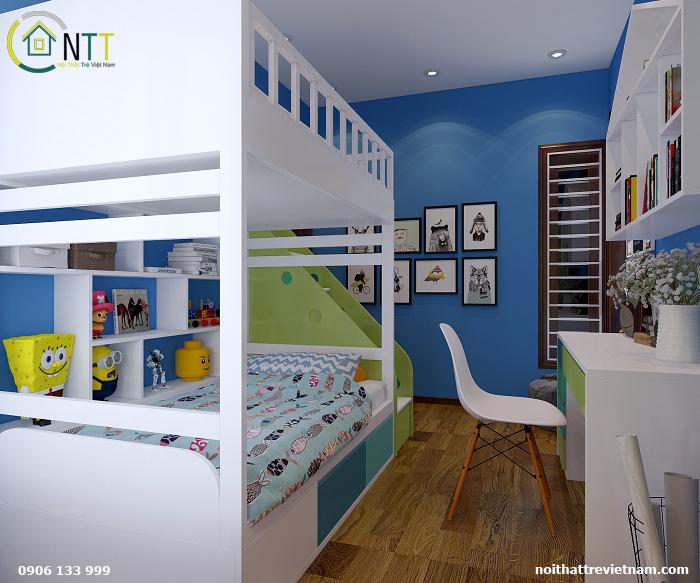 thiết kế căn hộ 46m2 2 phòng ngủ