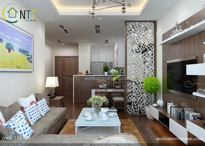 thiết kế nội thất nhà bếp chung cư 50m2