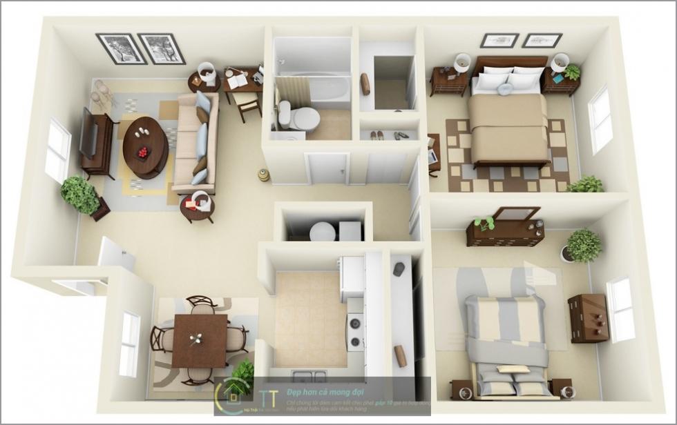 Thiết kế căn hộ 55m2 2 phòng ngủ