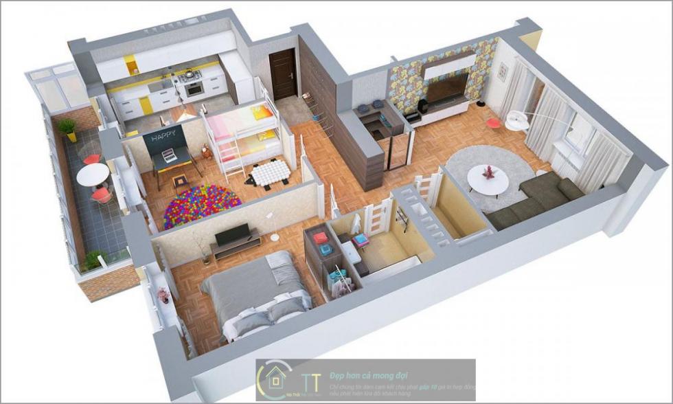 Phòng ngủ bố mẹ sử dụng tông màu ghi xám, phòng ngủ các con sử dụng giường tầng